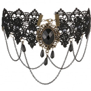 black lace choker with jewel and chain details